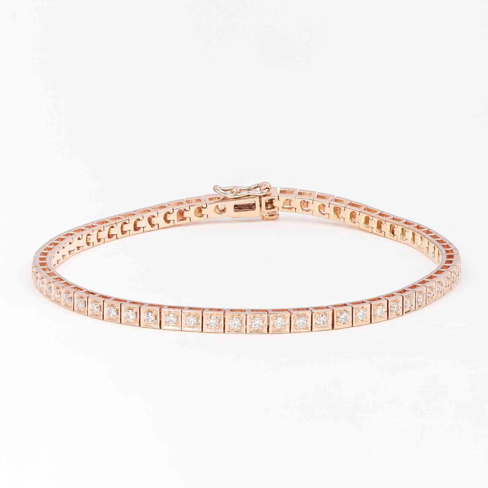 Bratara din Aur Roz de 14K cu Diamante
