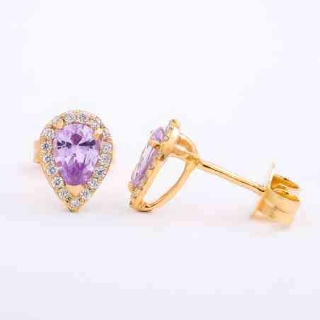 Cercei Aur Roz 14K cu Safir Roz si Diamante