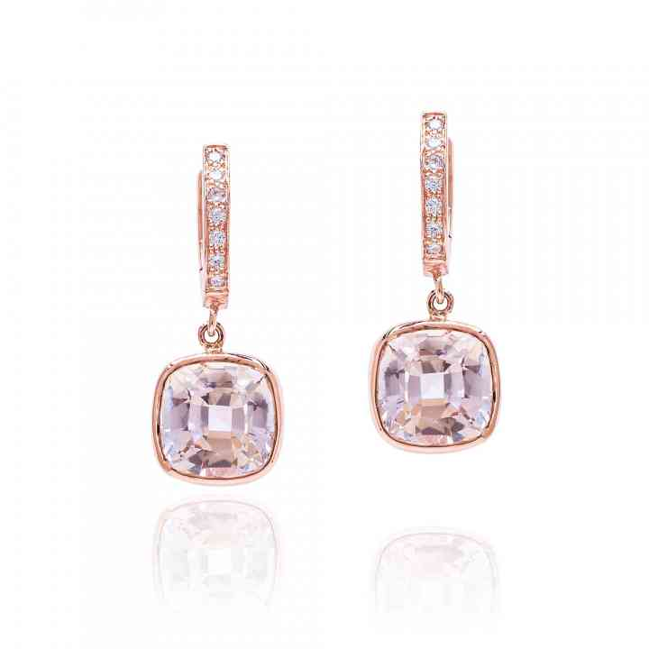 Cercei din Aur Roz 14K cu Morganit si Diamante