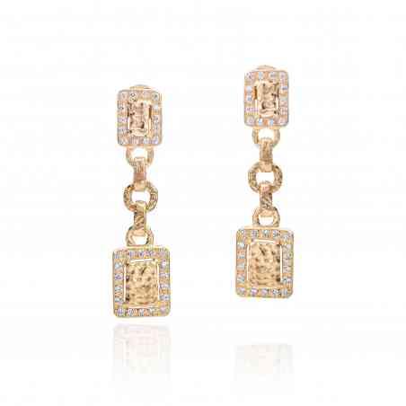 Cercei din Aur Galben 18 K cu Diamante