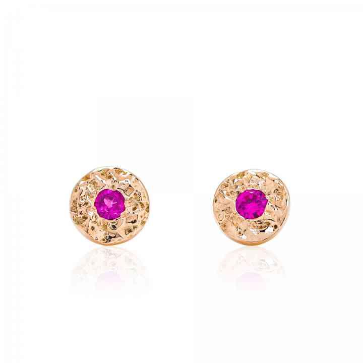 Cercei din Aur Roz de 14K cu Rubin