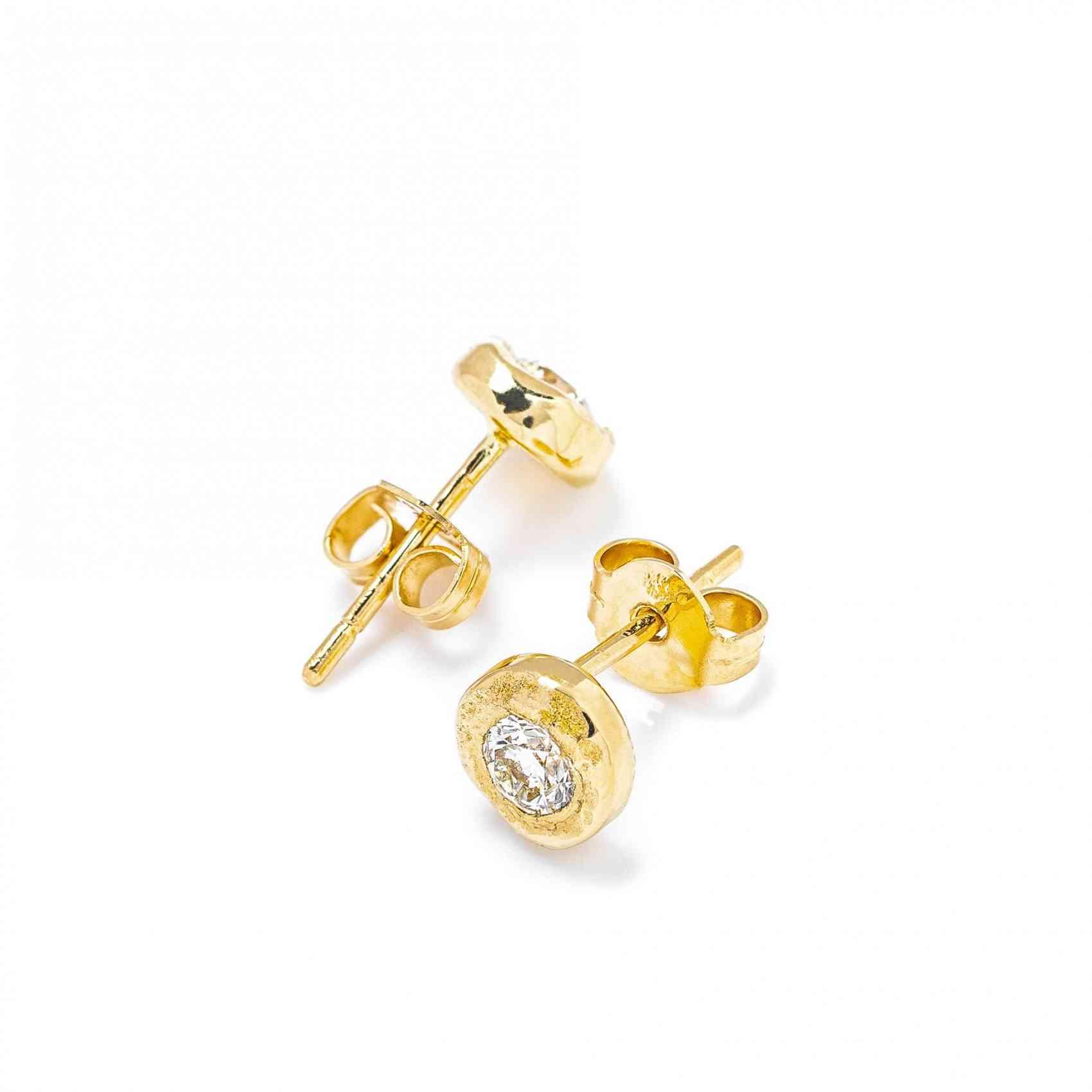 Cercei din Aur Galben de 18K cu Diamante