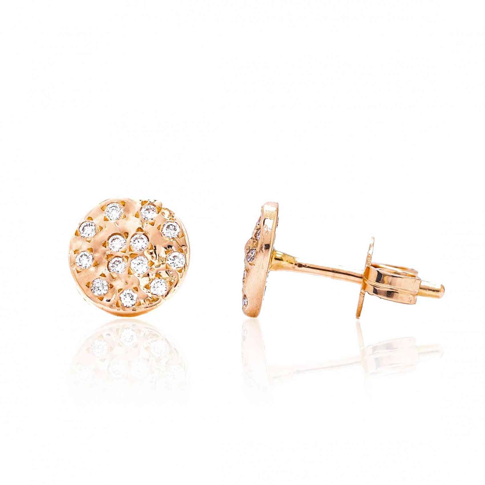 Cercei din Aur Roz de 14K cu Diamante