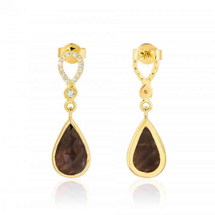 Cercei din Aur Galben 14K cu Safir Maro si Diamante