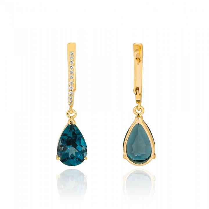 Cercei din Aur Galben 14K, cu London Topaz și Diamante