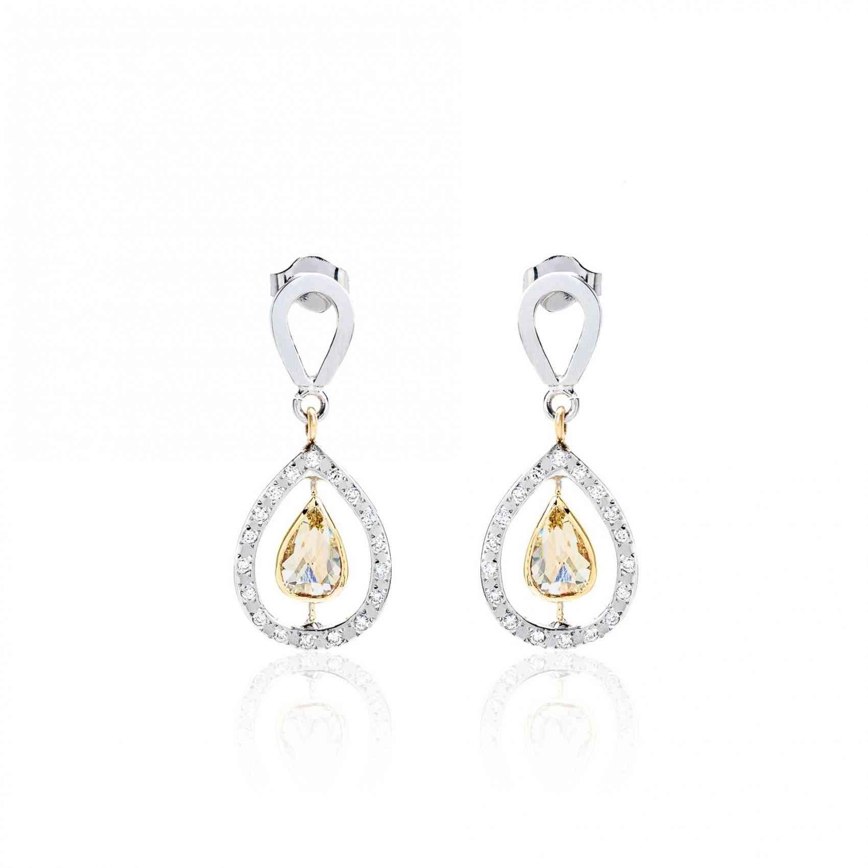 Cercei din Aur Alb si Galben 14 K cu Diamante