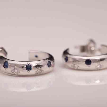 Cercei din Aur Alb 14K cu Diamante și Safire