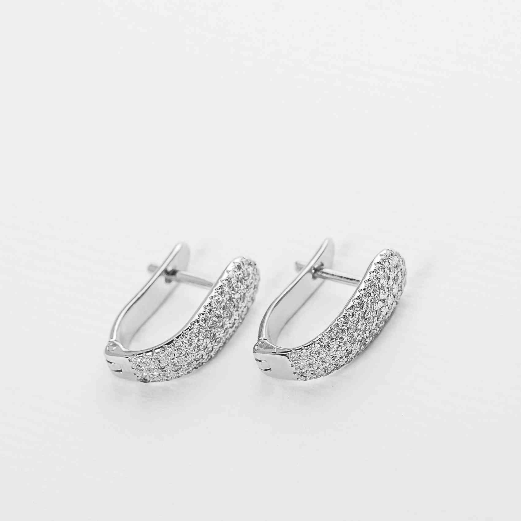 Cercei Aur Alb 18K cu Diamante