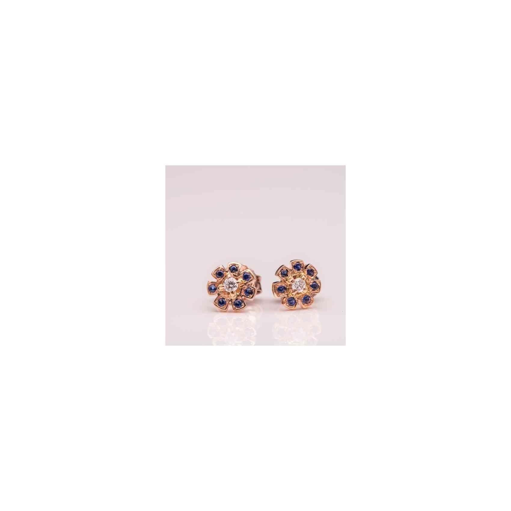 Cercei Fetițe din Aur Roz de 14K cu Safire și Diamante