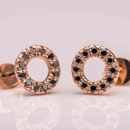 Cercei Rotunzi din Aur Roz 14K cu Diamante Negre