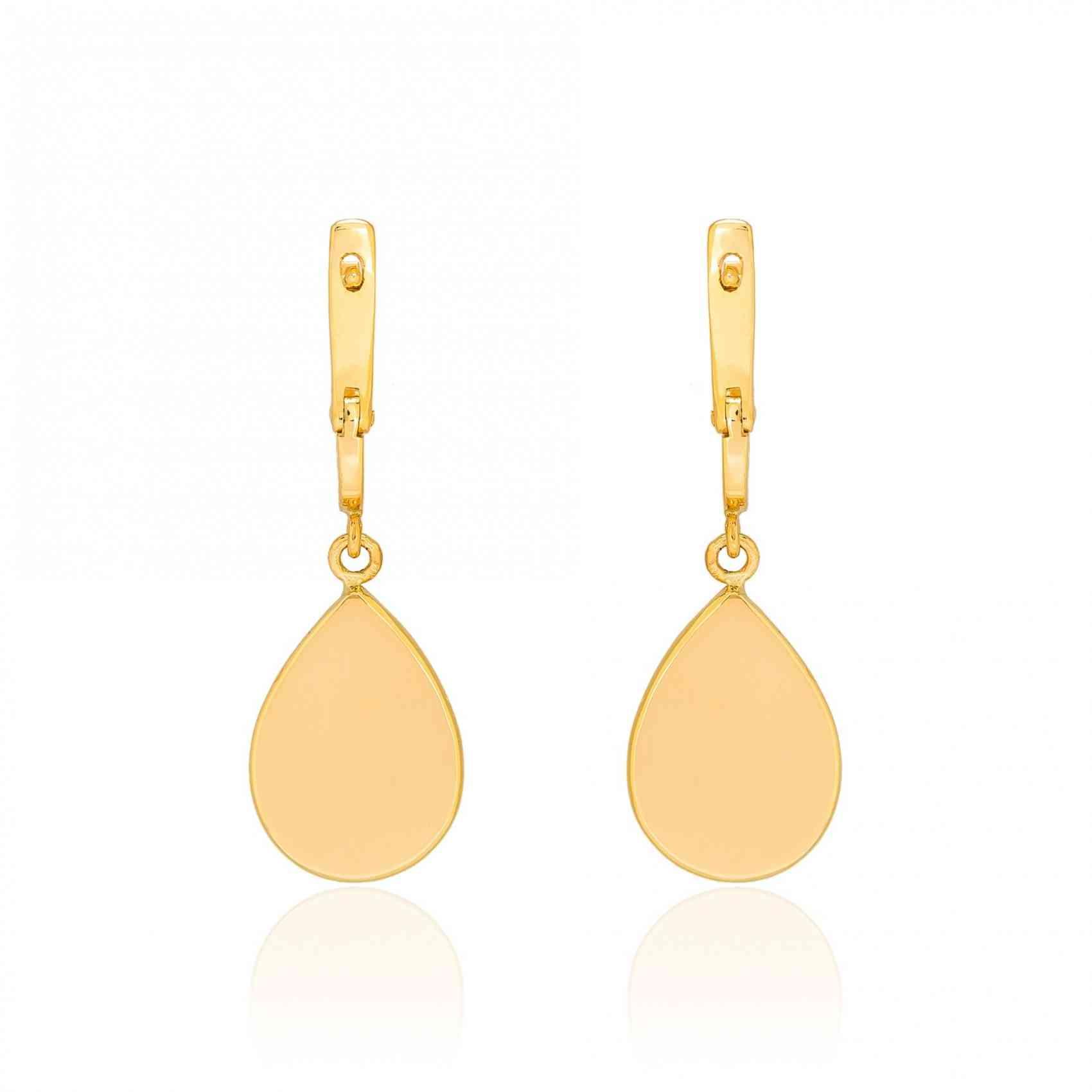 Cercei din Aur Galben de 18K cu Safire Maro si Diamante
