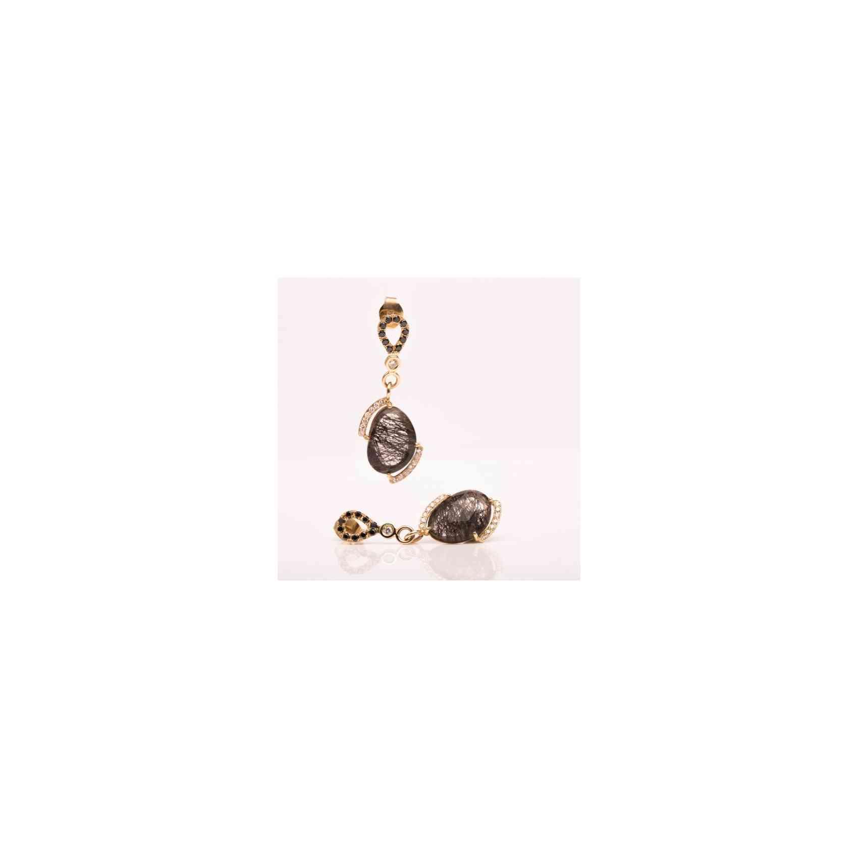 Cercei Aur 18K cu Diamante și Quarț