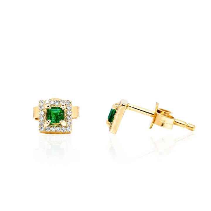 Cercei din Aur Galben 14K cu Smarald si Diamante