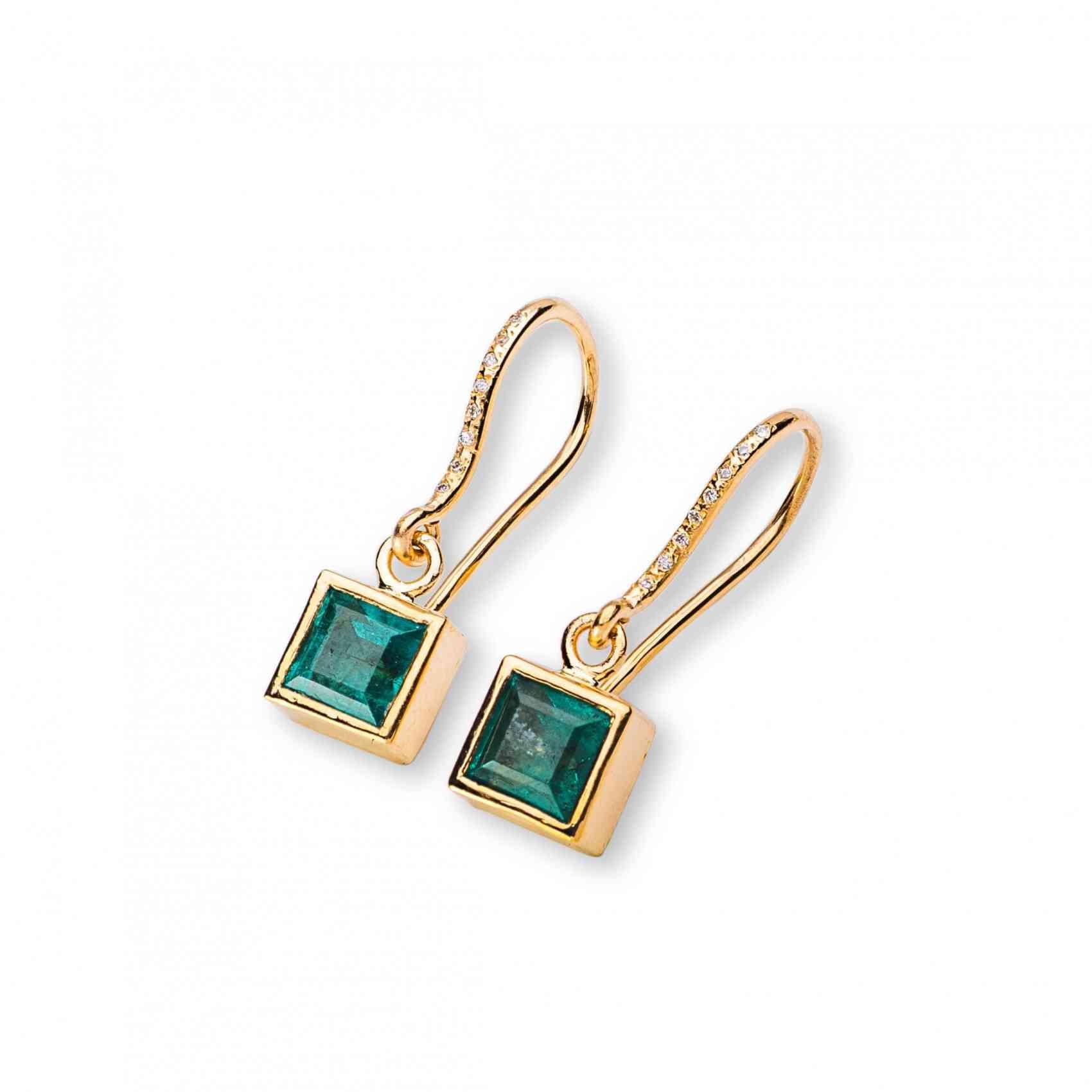 Cercei din Aur Galben 18 K cu Smarald si Diamante