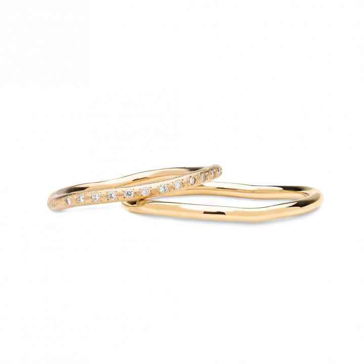 Set Verighete Dina din Aur Galben 14K cu Diamante