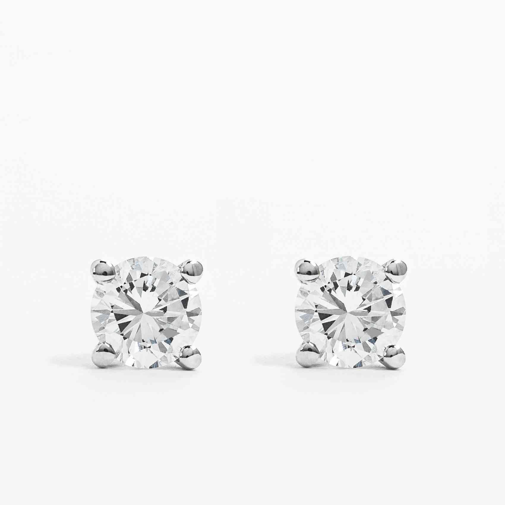 Cercei din Aur alb de 14K cu Diamante