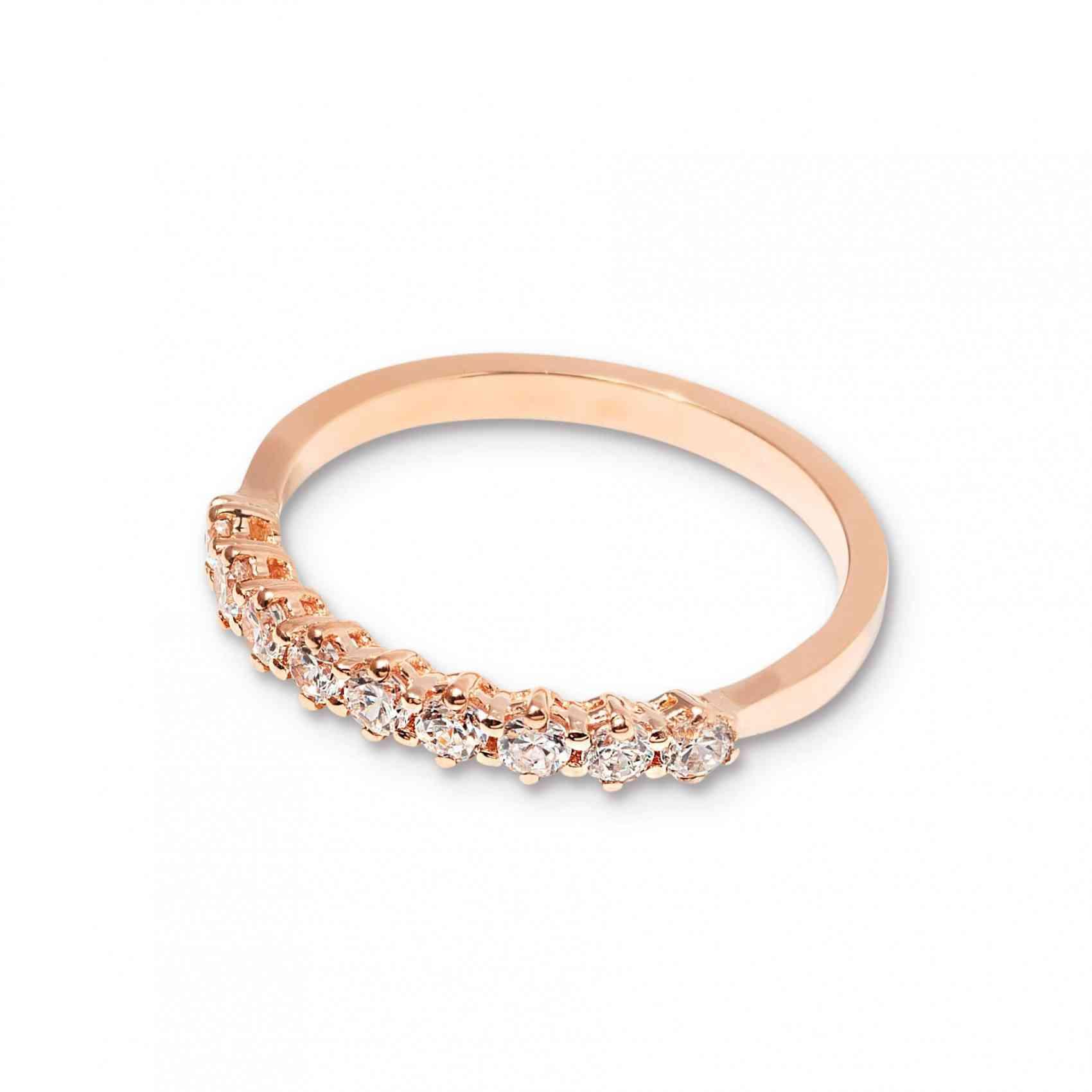 Inel Logodnă din Aur Roz 14K cu Diamante