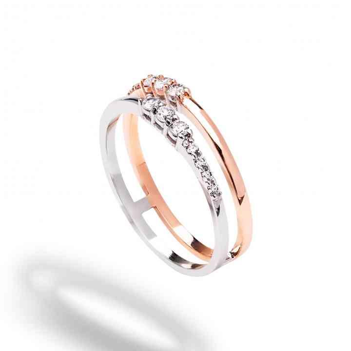 Inel Logodnă din Aur 14K Alb si Roz cu Diamante