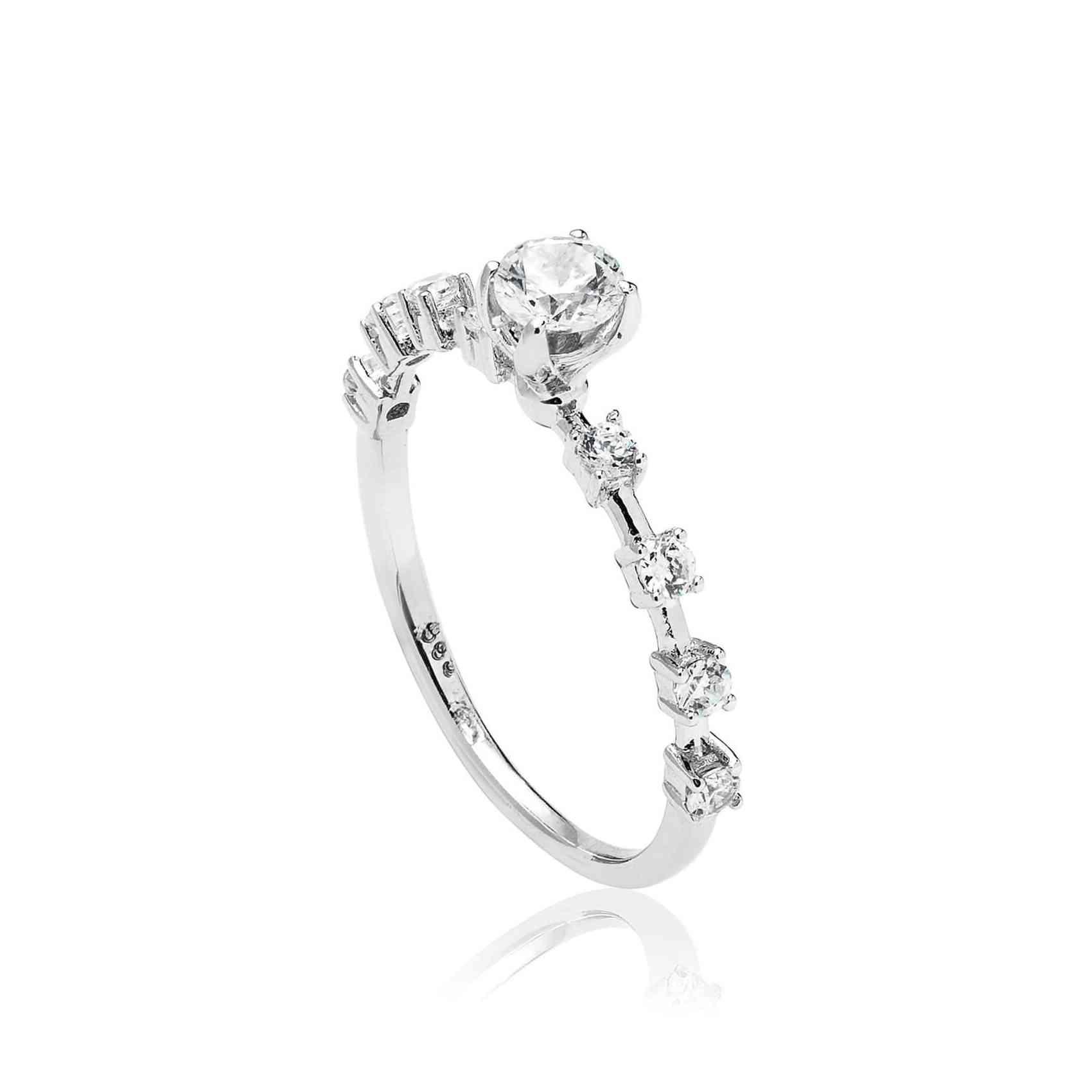 Inel Logodnă Aur din Alb 18K cu Diamante