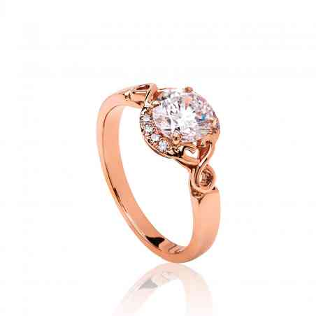 Inel Logodnă din Aur Roz 18K cu Diamante