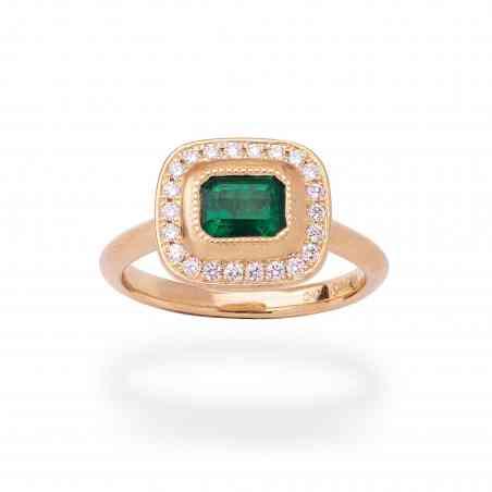 Inel din Aur Galben 18K cu Smarald si Diamante
