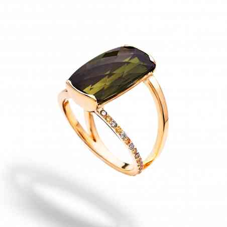 Inel din Aur Galben 18K cu Turmalina si Diamante