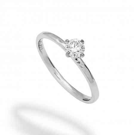Inel Logodnă din Aur Alb 14K cu Diamant