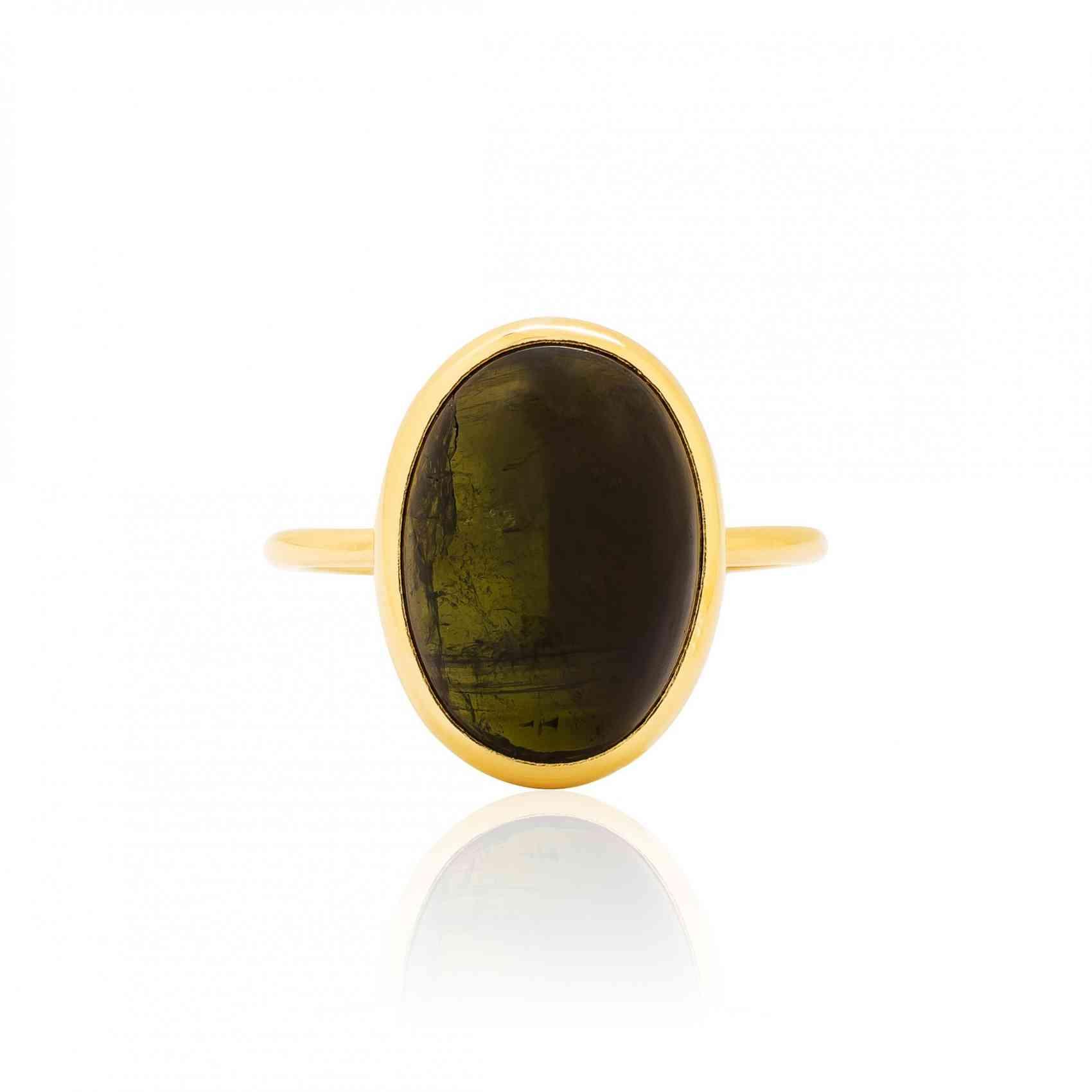 Inel din Aur Galben de 18K cu Turmalină Neagră
