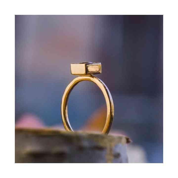 Inel de Logdonă din Aur Roz 14K cu Turmalină Roz