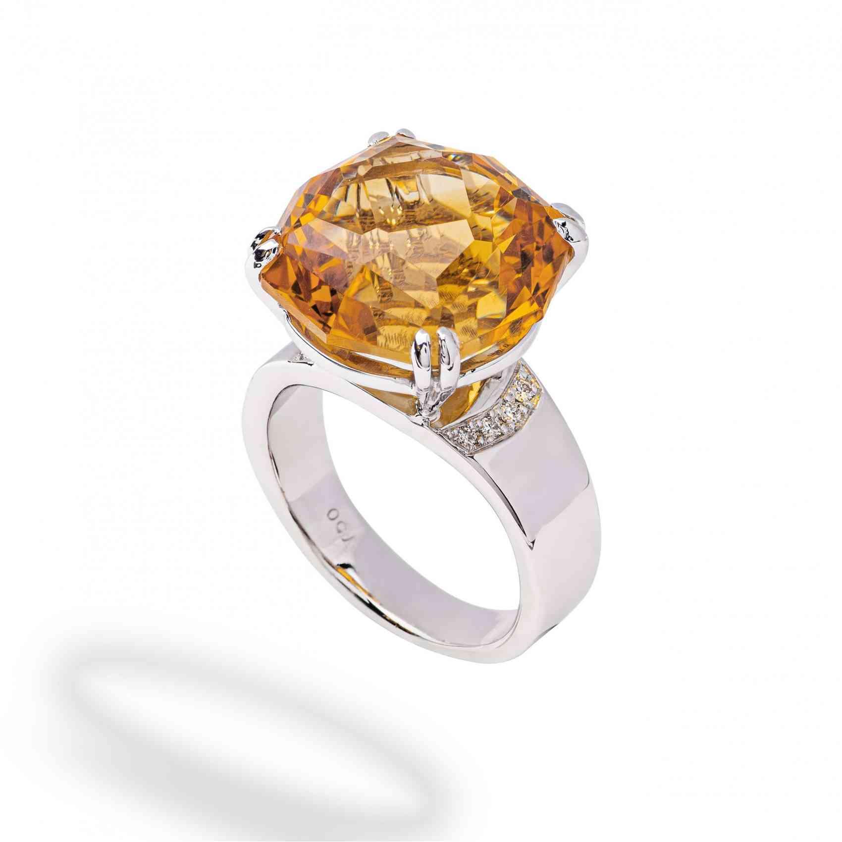 Inel din Aur Alb 18K cu Citrin Madeira si Diamante