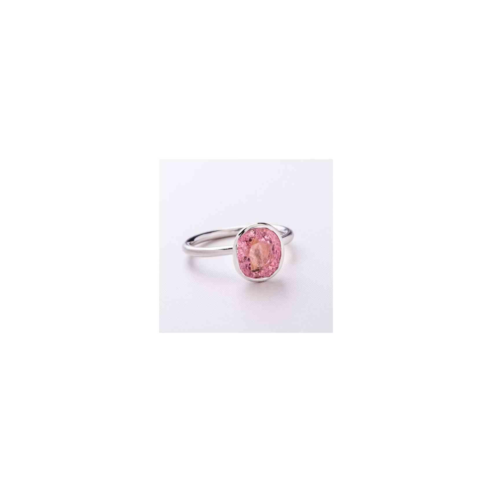 Inel din Aur Alb 18K cu Turmalină Roz