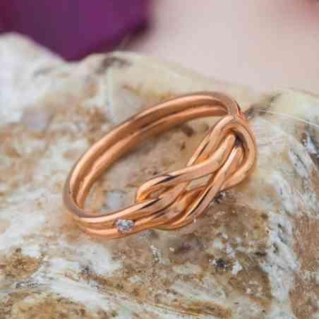 Inel Logodnă Aur Roz 14K cu Diamant Alb
