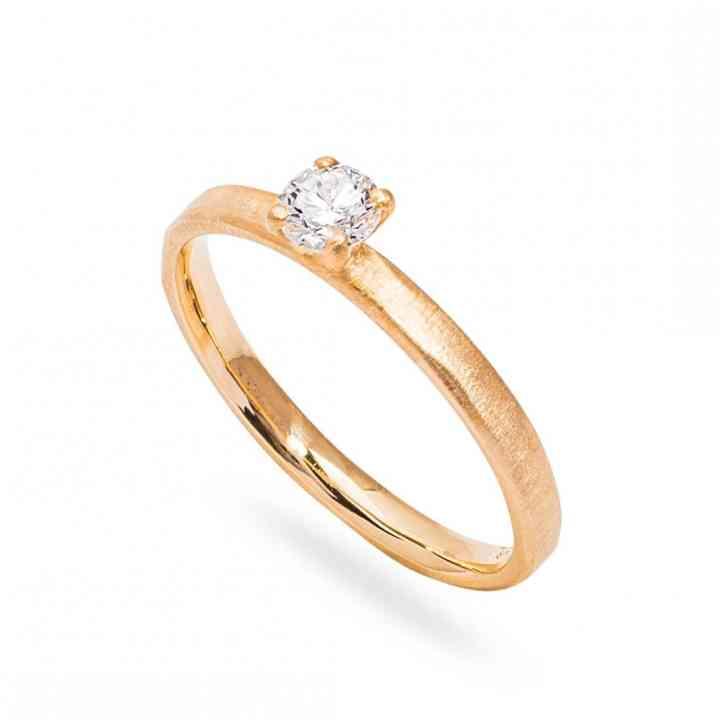 Inel Logodnă Artistic din Aur Galben 14K cu Diamant