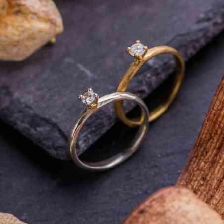 Inel Logodnă Aur Alb 14K sau Aur Galben 14K, cu Diamant Alb solitar