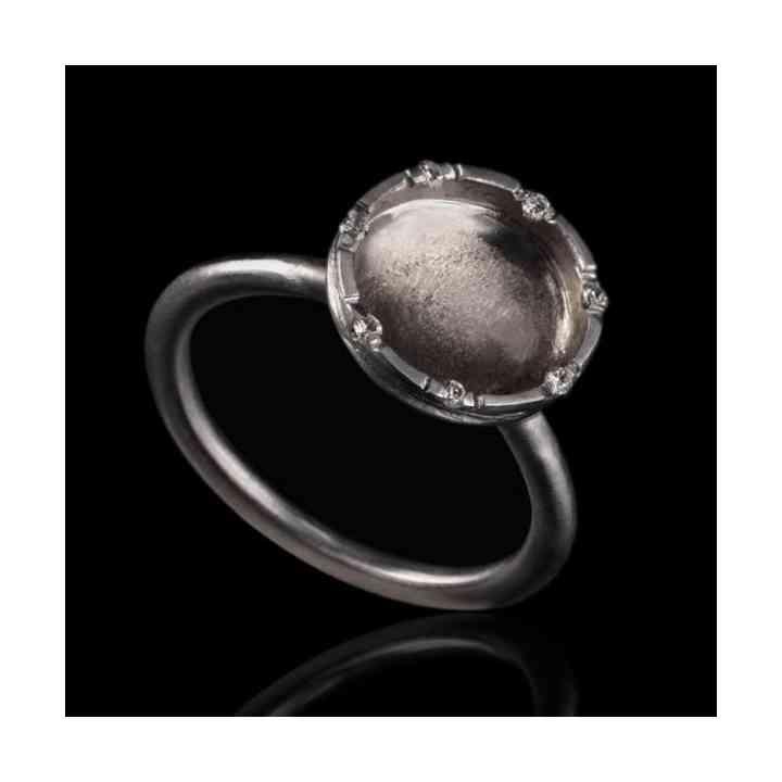 Inel de Logodnă Alma din Aur Alb 18k și Diamante