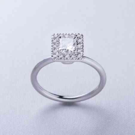 Inel Logodnă din Aur Alb 18K cu Diamante