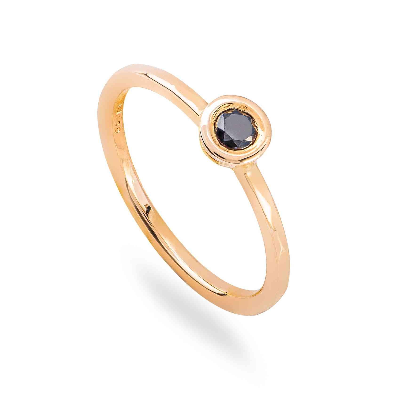 Inel Logodnă din Aur Galben 14K cu Diamant Negru