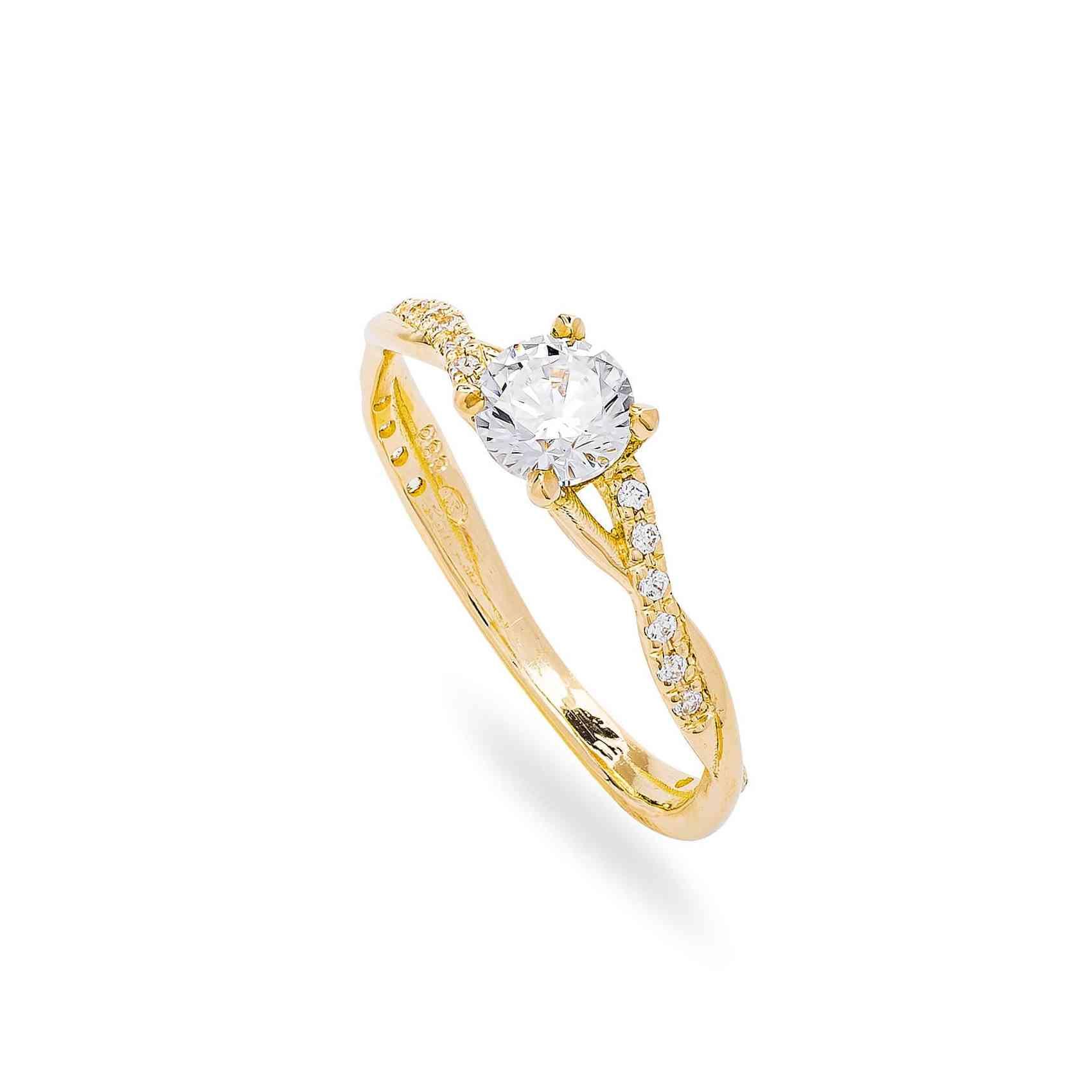 Inel Logodnă din Aur Galben 14K cu Diamante