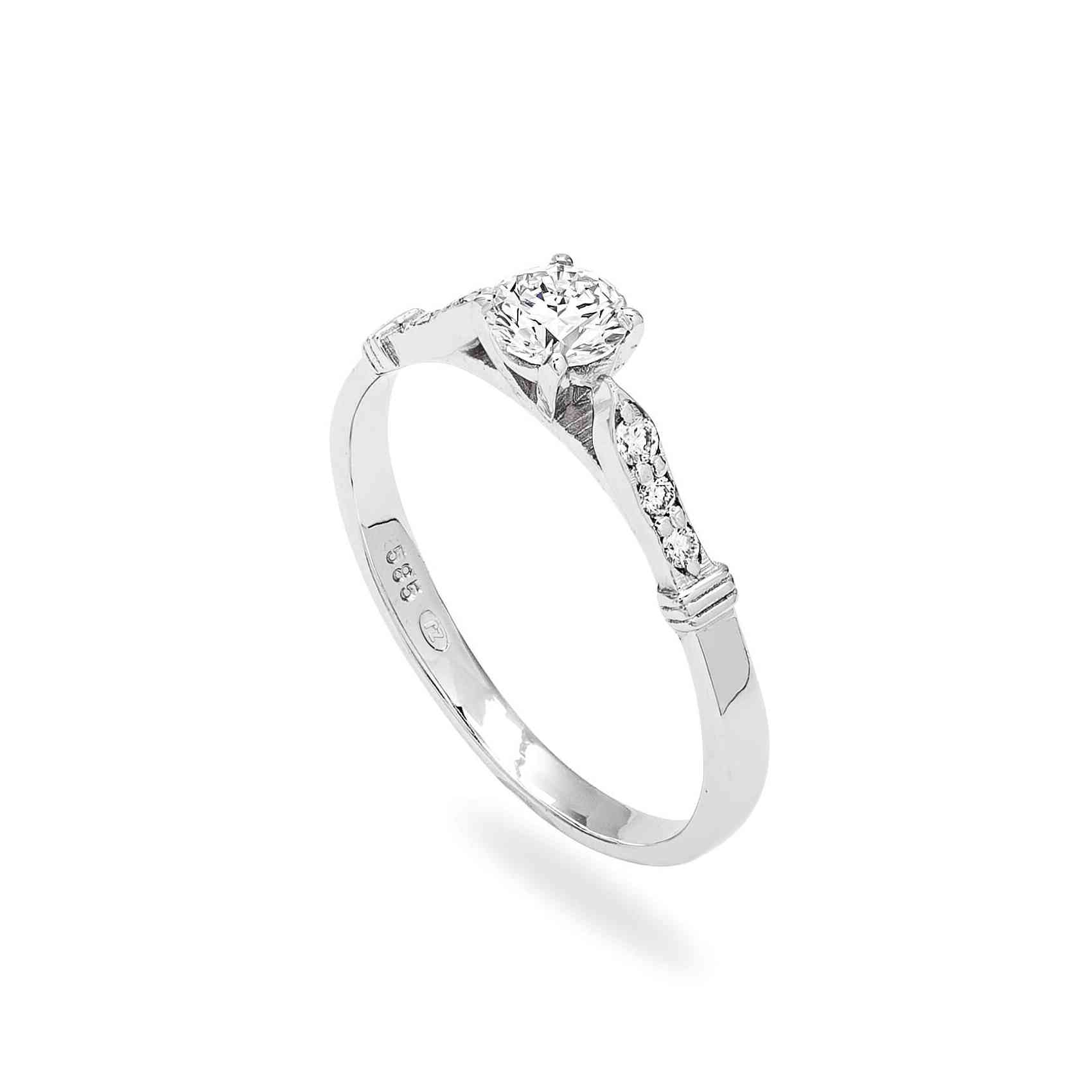 Inel Logodnă din Aur Alb 14k cu Diamante