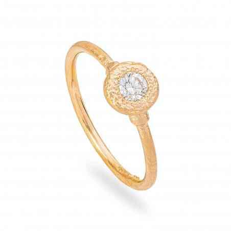 Inel Logodnă Artistic din Aur Galben 18K cu Diamant