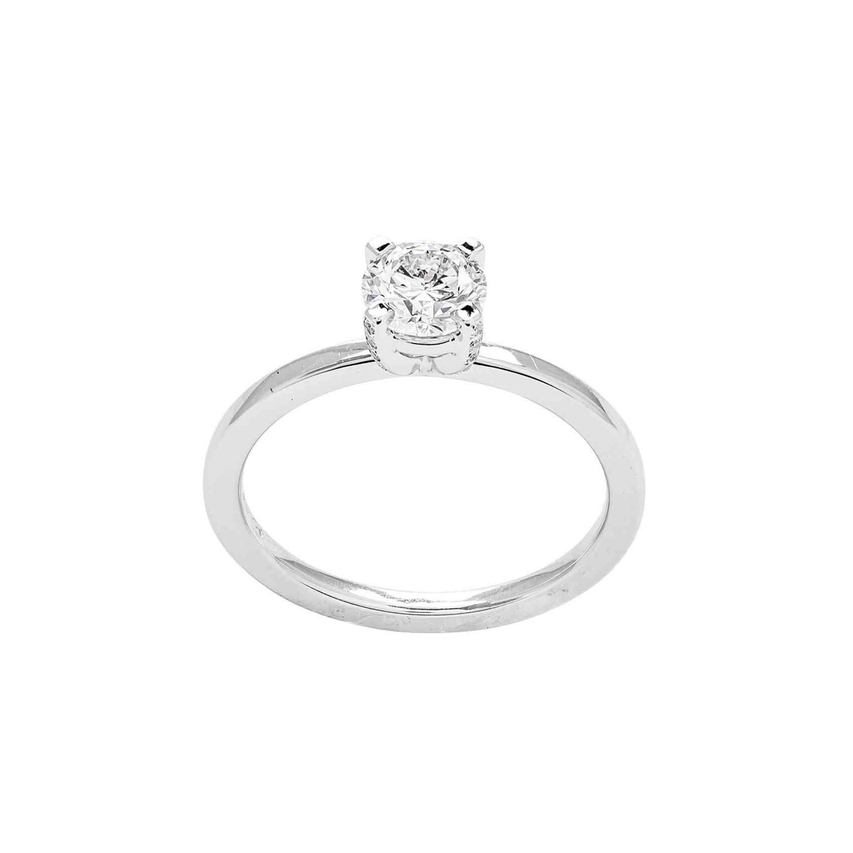 Inel Logodnă din Aur Alb 18K si Diamante