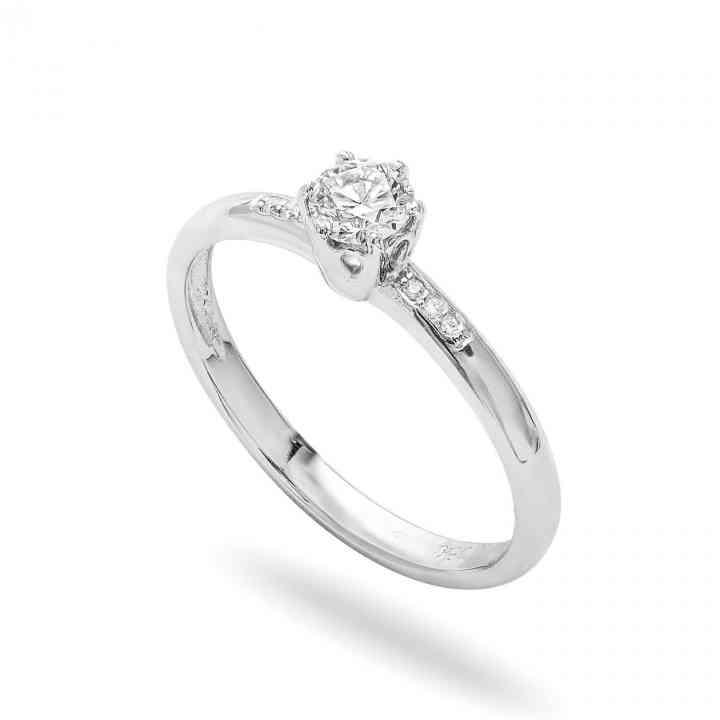 Inel Logodnă Clasic din Aur Alb 18k cu Diamante