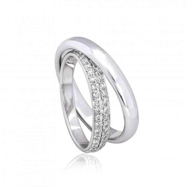 Set Verighete Meghan Aur Alb 14 K cu Diamante
