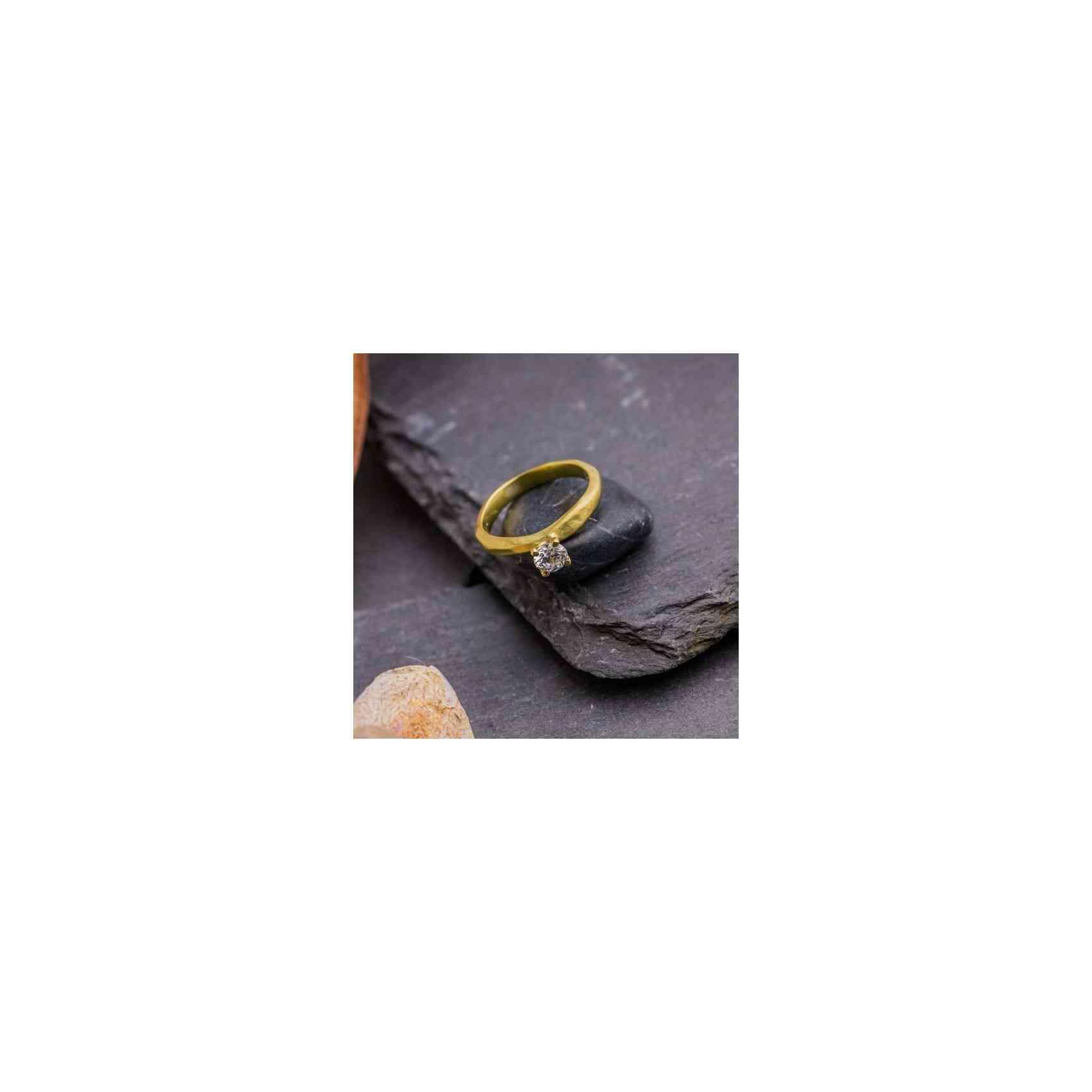Inel Logodnă din Aur 18K cu Diamant Alb