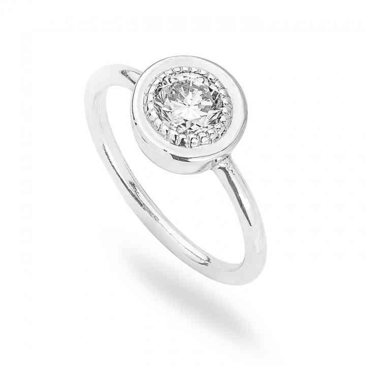 Inel Logodnă Clasic din Aur Alb 18K cu Diamant