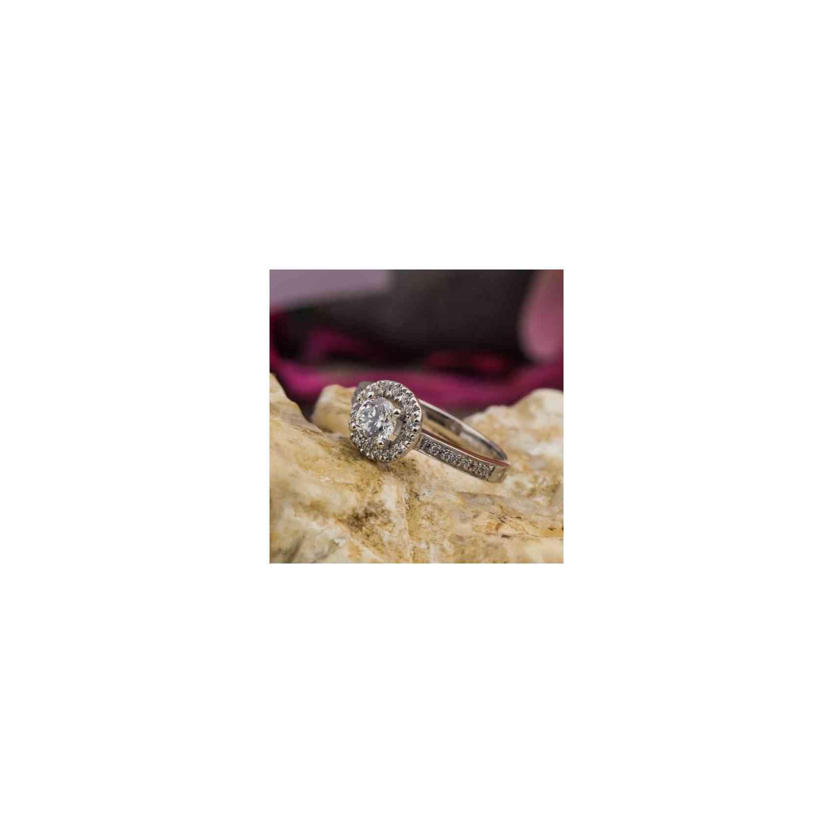 Inel Logodnă Halo din Aur Alb 18K cu Diamante