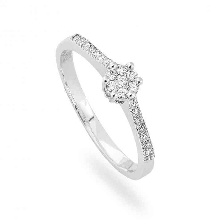 Inel Logodnă Modern din Aur Alb 14K cu Diamante