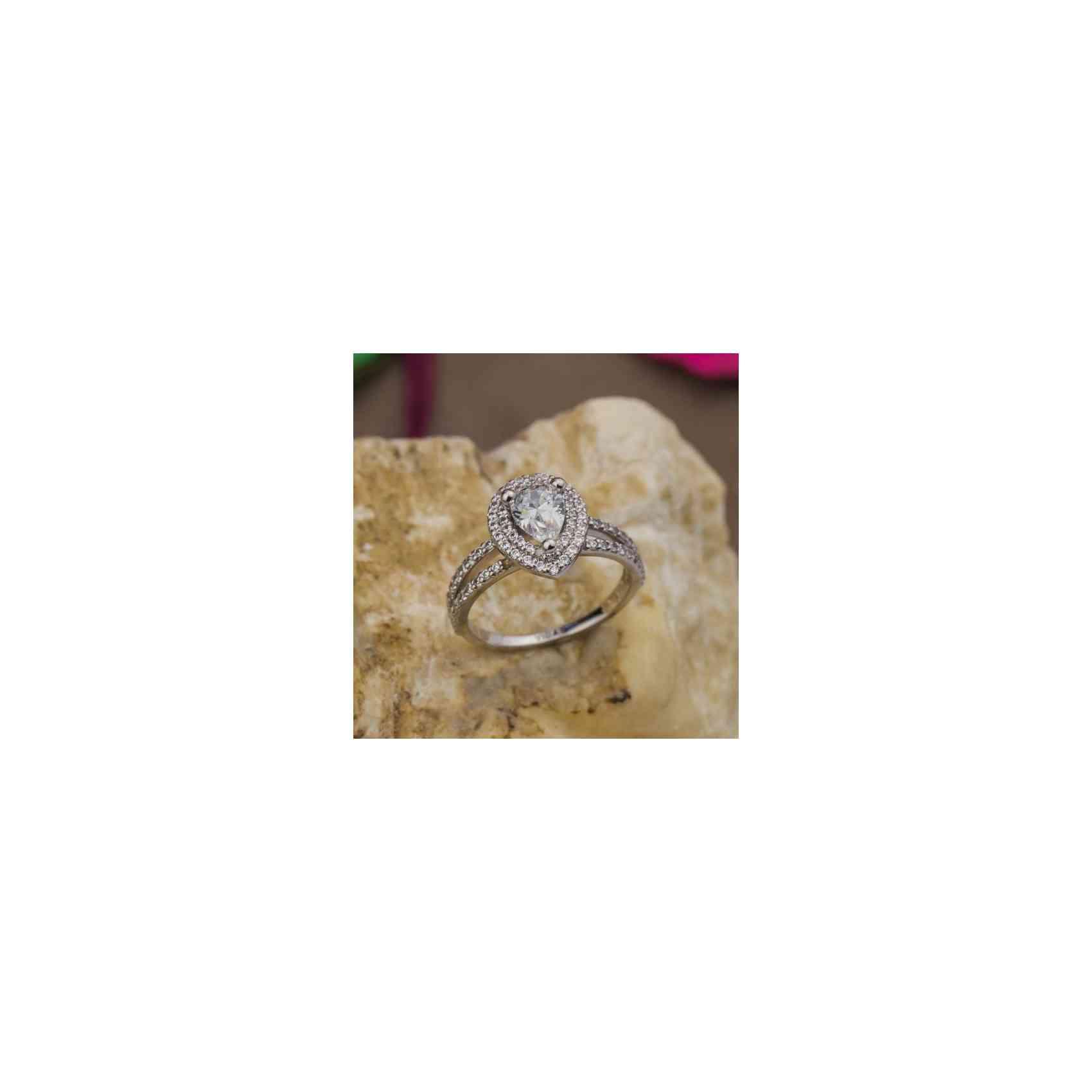 Inel Logodnă Aur Alb 18K cu Diamant pară