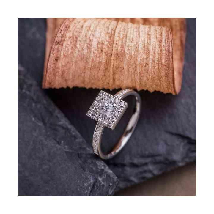 Inel de Logodnă Aur Alb 18K cu Diamante