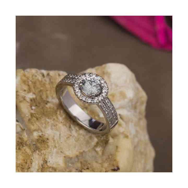 Inel logodnă Halo Aur Alb 18K cu Diamante